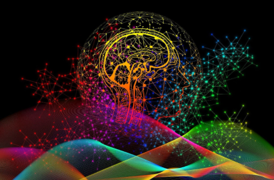 Brain with light backgrounds and multi colors