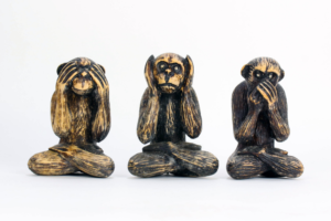 "3 monkeys that are ""Hear no evil - see no evil - do no evil """